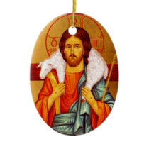 Jesus Seeker of Lost Sheep Ceramic Ornament