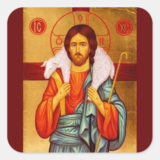 Jesus Seeker of Lost Sheep Square Sticker