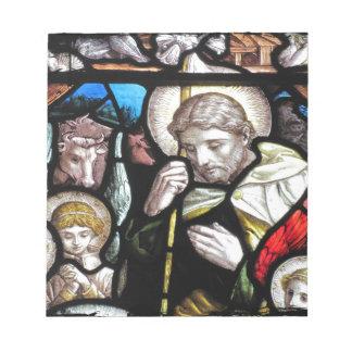 Jesus Shepherd Stained Glass Art Notepad