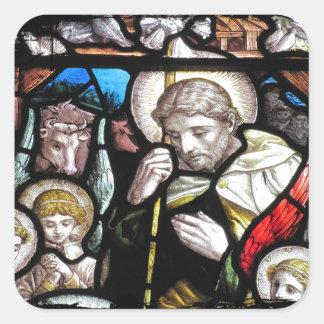 Jesus Shepherd Stained Glass Art Square Sticker