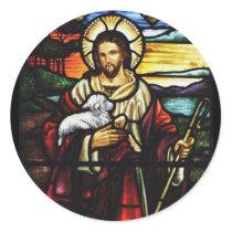 Jesus Shepherd with His Sheep Classic Round Sticker