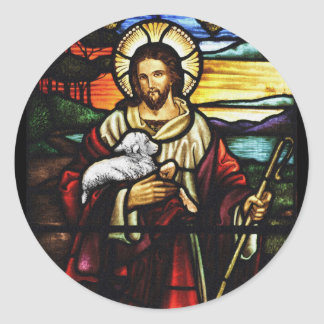 Jesus Shepherd with His Sheep Classic Round Sticker
