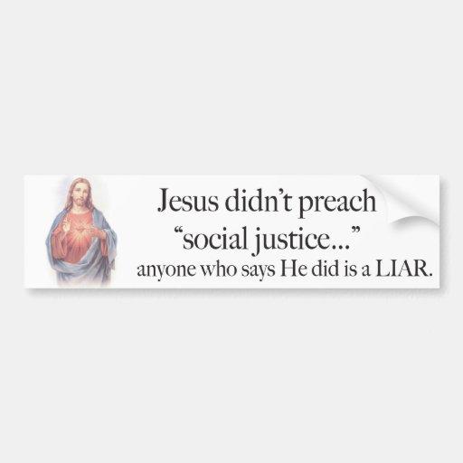Jesus Social Justice Sticker Car Bumper Sticker Zazzle