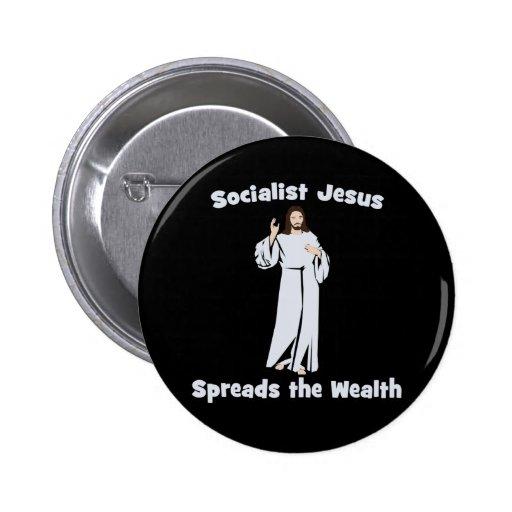 Jesús socialista separa la riqueza pin redondo 5 cm