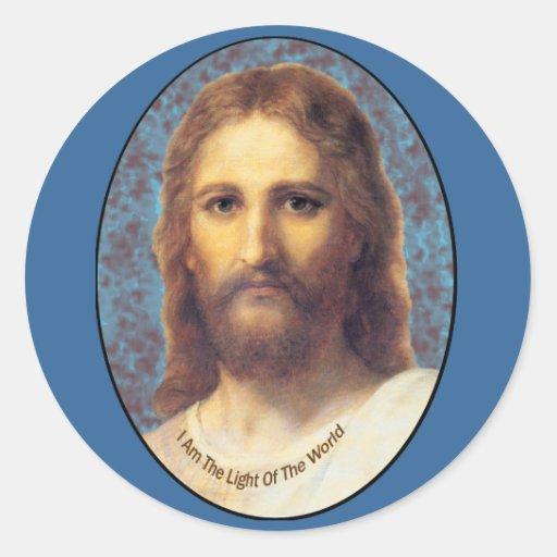 Jesús soy la luz de los productos del mundo pegatina redonda