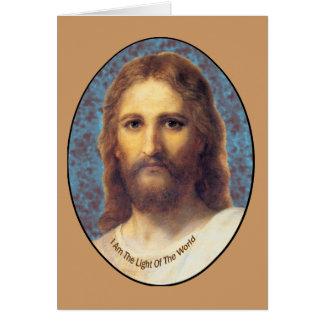 Jesús soy la luz de los productos del mundo tarjeta de felicitación