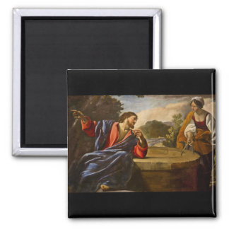 Jesus Speaking with a Samaritan Woman 2 Inch Square Magnet