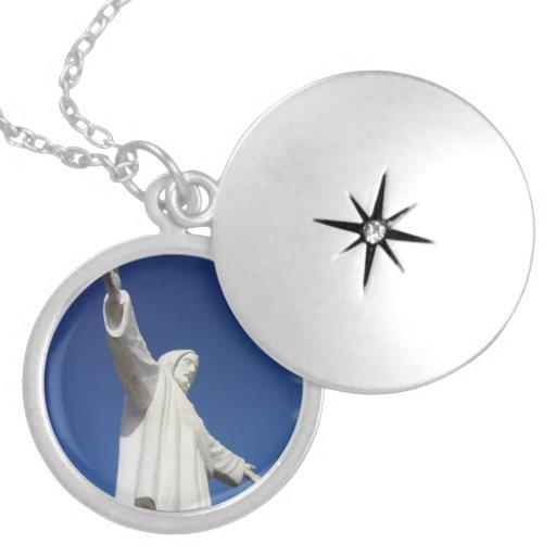jesus statue round locket necklace