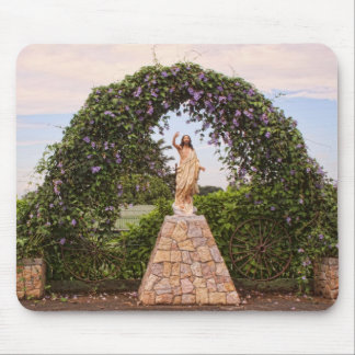 Jesus Statue with Beautiful Flowers Mouse Pad