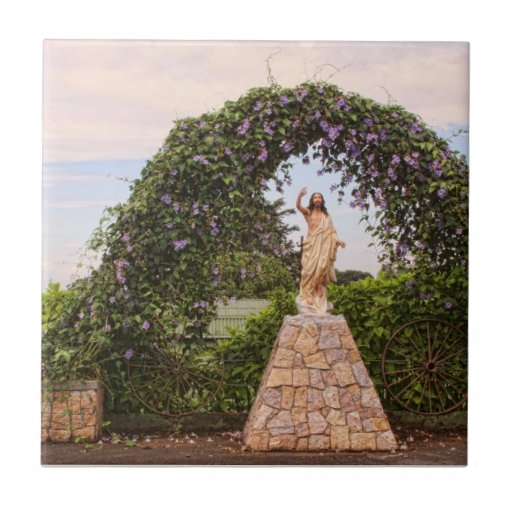 Jesus Statue with Beautiful Flowers Small Square Tile