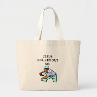 jesus strikes out sin canvas bag