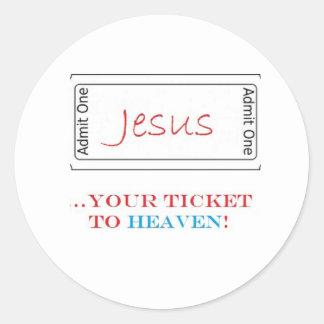 ¡Jesús… su boleto al cielo Pegatina Redonda