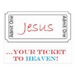 ¡Jesús… su boleto al cielo! Tarjeta Postal