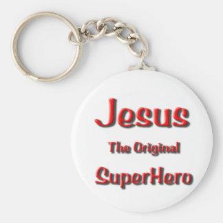 Jesus Super Hero Basic Round Button Keychain