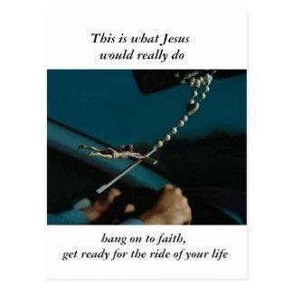 Jesus take the wheel postcard