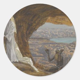 Jesus Tempted in Wilderness Classic Round Sticker