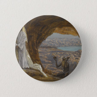 Jesus Tempted in Wilderness Pinback Button