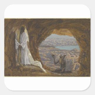 Jesus Tempted in Wilderness Square Sticker