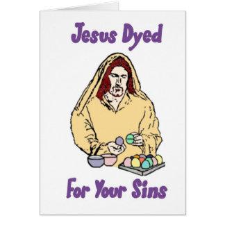 Jesús teñió para sus pecados tarjeta de felicitación