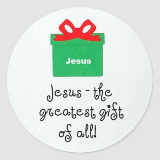 Jesus, the greatest gift of all! classic round sticker