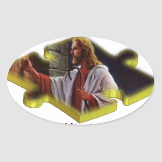 Jesus The Missing Piece Oval Sticker