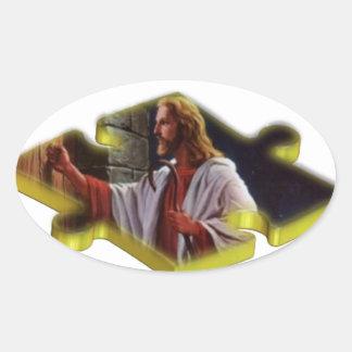 Jesus The Missing Piece Oval Sticker