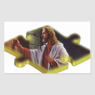 Jesus The Missing Piece Rectangular Sticker