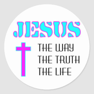 Jesus the way the truth the life classic round sticker