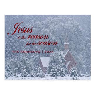 Jesus this Season - Yosemite Chapel in Snowstorm Postcard