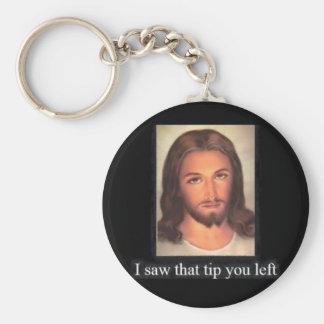 Jesus tips 20% basic round button keychain