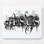 Jesus UltraDéco Noir Tapetes De Ratón