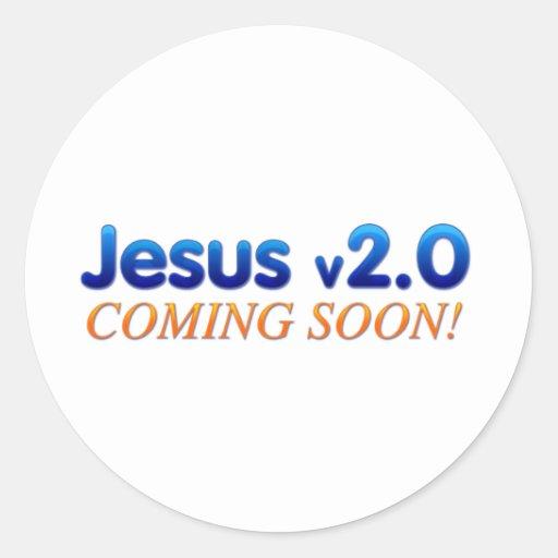 Jesus v2.0 classic round sticker