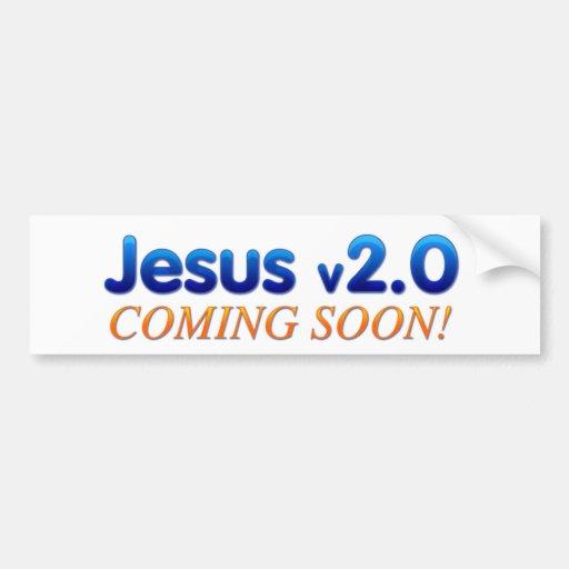 Jesús v2.0 pegatina de parachoque
