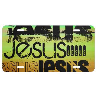 Jesús; Verde vibrante, naranja, y amarillo Placa De Matrícula