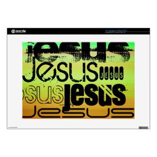 Jesús; Verde vibrante, naranja, y amarillo Skins Para 38,1cm Portátil