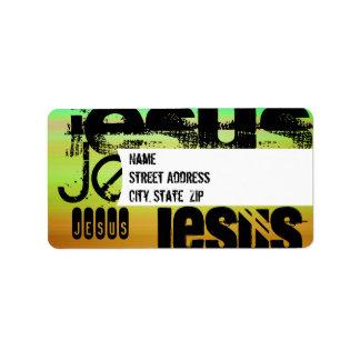 Jesus; Vibrant Green, Orange, & Yellow Address Label