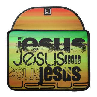 Jesus; Vibrant Green, Orange, & Yellow MacBook Pro Sleeves