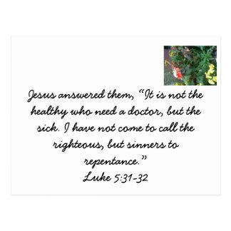 Jesús vino llamar a pecadores al arrepentimiento tarjetas postales