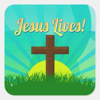 Jesús vive azul/cruz cristiana de Brown Pascua Pegatina Cuadrada