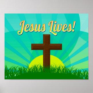 Jesús vive azul/cruz cristiana de Brown Pascua Póster