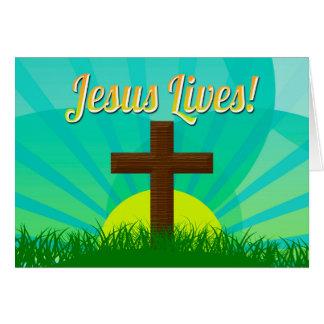 Jesús vive azul/cruz cristiana de Brown Pascua Tarjeta Pequeña
