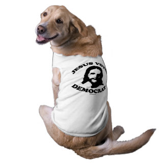 Jesús vota al demócrata playera sin mangas para perro
