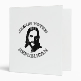 Jesus votes Republican Faded png 3 Ring Binders