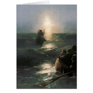 Jesus Walking on Stormy Seas Card
