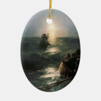 Jesus Walking on Stormy Seas Ceramic Ornament