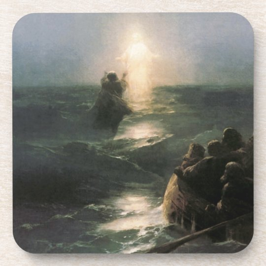 Jesus Walking on Stormy Seas Coaster