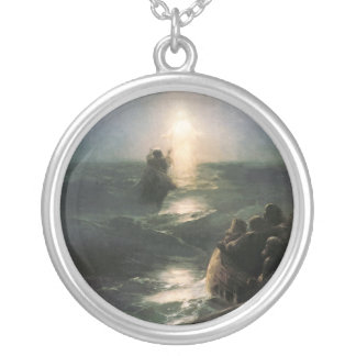 Jesus Walking on Stormy Seas Silver Plated Necklace