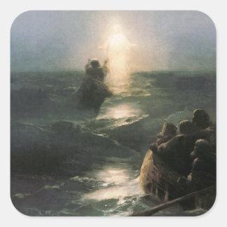 Jesus Walking on Stormy Seas Square Sticker