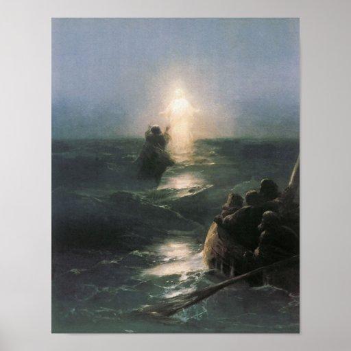 Jesus Walking on Water, Ivan Aivazovsky Painting Poster