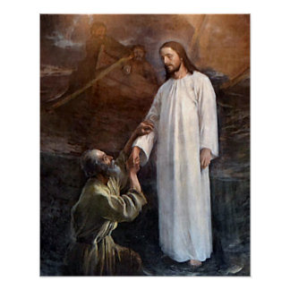 Jesus Walks on Water 3 & St Peter Poster Wide